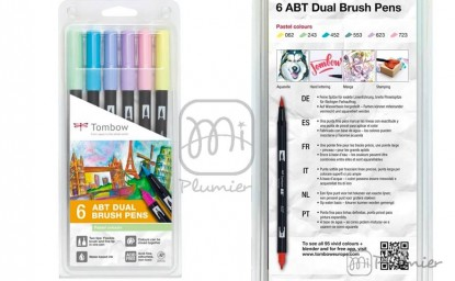Pack 6 Tombow: Colores Pastel/ 6 ABT Dual Brush Pen